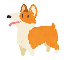 Cute Fluffy Corgi Dog by Claire Stamper