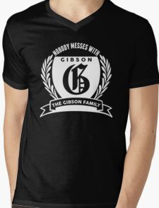 Nobody Messes With The Gibson Family Mens V-Neck T-Shirt