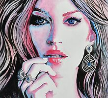 Gisele Bündchen in watercolor painting by Margarete Bom
