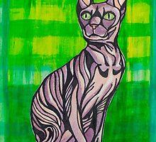 HeartFULL Cat Art: Sphynx Cat Mixed Media Painting by mellierosetest