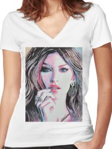 Gisele Bündchen in watercolor painting Women's Fitted V-Neck T-Shirt