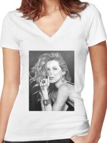 Gisele Bündchen in Graphite Pencil Women's Fitted V-Neck T-Shirt