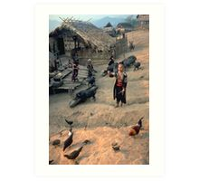 Hilltribe village scene Art Print