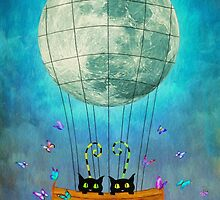 Cat & Moon by AnaCBStudio
