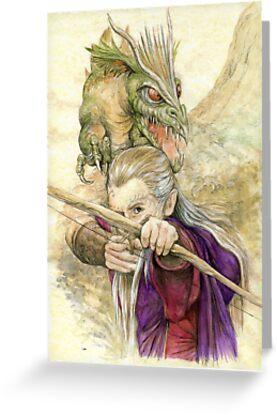 Elf Warior and Dragon by morgansartworld