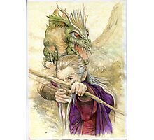 Elf Warior and Dragon Photographic Print