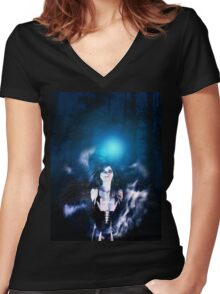 Dark Angel in the Forest 3 Women's Fitted V-Neck T-Shirt