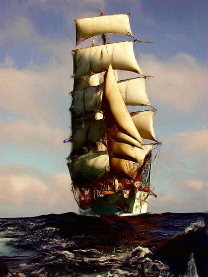 Tall Ship Painting by jpgilmore