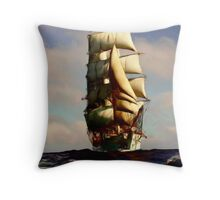 Tall Ship Painting Throw Pillow