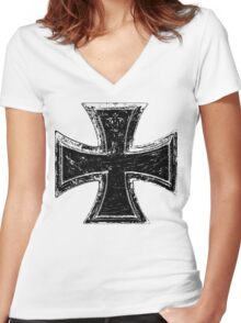 Iron Cross Women's Fitted V-Neck T-Shirt