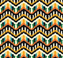 Colorful Zigzag Ethnic Pattern by amovitania