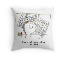 An Alien and his Drum Machine Throw Pillow