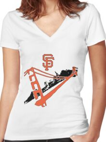 San Francisco Giants Stencil Women's Fitted V-Neck T-Shirt