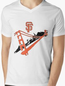 San Francisco Giants Stencil Mens V-Neck T-Shirt