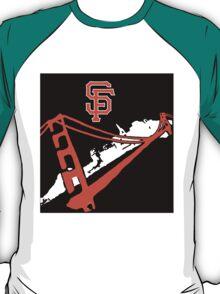 San Francisco Giants Stencil Black Background T-Shirt