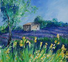 Lavender Field With Yellow Flowers painting by schiabor