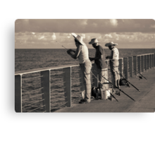 Fishing on Pier Canvas Print