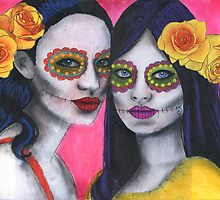 Dos Flores - Day of the Dead by Lisa Vollrath