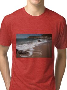 Swirling waves at Fall Bay Gower Swansea Tri-blend T-Shirt
