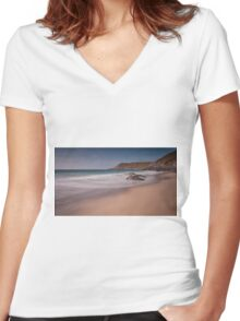 Pristine sand at Fall Bay Gower Swansea Women's Fitted V-Neck T-Shirt