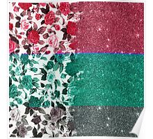Pink, Teal, and Grey Rose Floral and Faux Glitter Poster