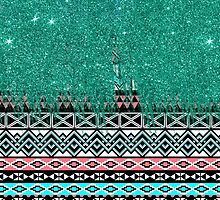 Pink and Teal Modern Aztec with Faux Teal Glitter by Blkstrawberry