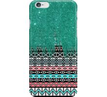 Pink and Teal Modern Aztec with Faux Teal Glitter iPhone Case/Skin