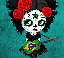 Sugar Skull Girl Playing Brazilian Flag Guitar by Jeff Bartels