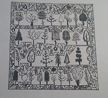 Trees and background leaves doodle  by AnnestiMeets