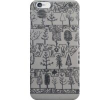 Trees and background leaves doodle  iPhone Case/Skin