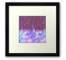 Pink, Blue, and Purple Watercolor and Faux Glitter Framed Print