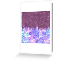 Pink, Blue, and Purple Watercolor and Faux Glitter Greeting Card