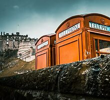 Red Phoneboxes By Edinburgh Castle by mrdoomits