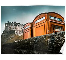 Red Phoneboxes By Edinburgh Castle Poster