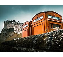 Red Phoneboxes By Edinburgh Castle Photographic Print