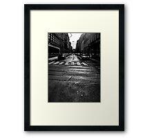 winter street. vienna, austria Framed Print