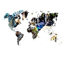 Map of the world blue watercolor Photographic Print