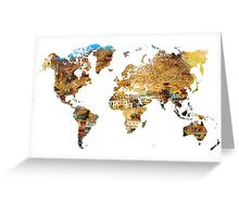 Map of the world house living Greeting Card