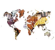 Map of the world architecture style Photographic Print