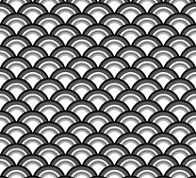 Art Deco Wave Pattern - black and white by Marymarice