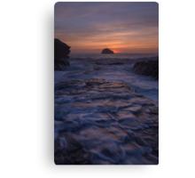 Trebarwith Strand Cornwall afterglow Canvas Print