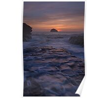 Trebarwith Strand Cornwall afterglow Poster