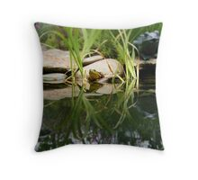 Reflecting On Frogs II Throw Pillow