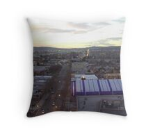 Lights, street and buildings in San Jose at dusk Throw Pillow