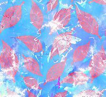 Whimsical Watercolor Leaves in Pink and Blue by Blkstrawberry