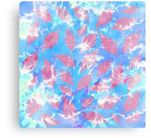 Whimsical Watercolor Leaves in Pink and Blue Canvas Print