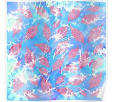 Whimsical Watercolor Leaves in Pink and Blue Poster