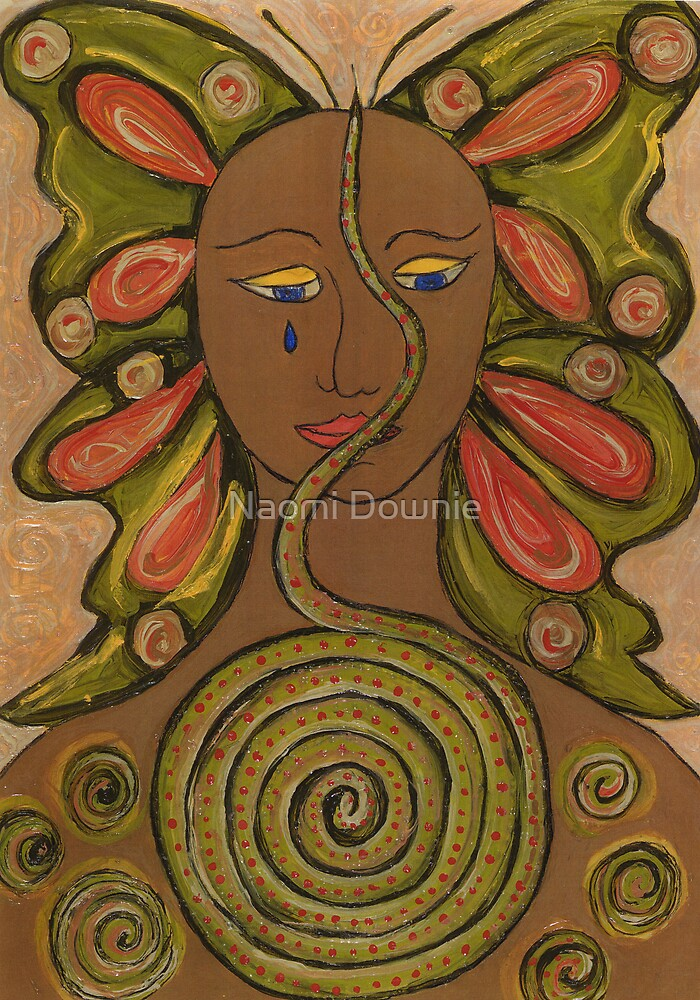 Butterfly-snake woman by Naomi Downie