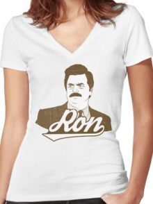 Ronald Ulysses Swanson. Women's Fitted V-Neck T-Shirt