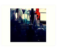 Blue Bottles Art Print
